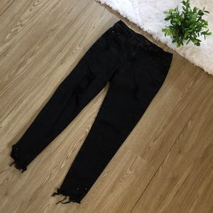 KANCAN Distressed Faded Black Jeans